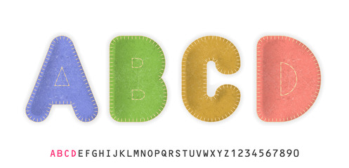 Uppercase realistic letters A, B, C, D made of color felt fabric. For festive cute design.