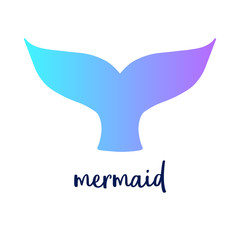 Mermaid colorful tail and writing, vector illustration drawing of mermaid tail in blue and violet colors. Isolated on white background.