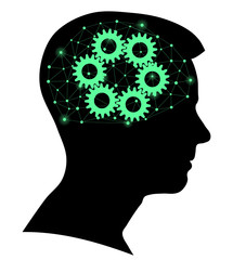 Boy silhouette with a brain gears and network