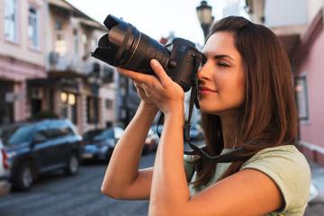 beautiful woman is photographed in a tourist trip in Georgia, Batumi
