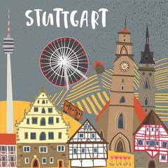 Hand-drawn illustration of Stuttgart landmarks: Monastery church, Schiller square, half-timbered houses, Cannstatt Ferris wheel, TV tower. For souvenirs, postcards, magnets. Baden-Wurttemberg, Germany