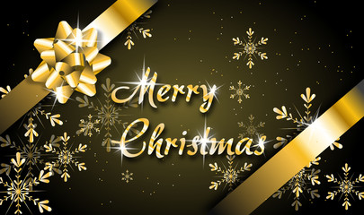 Christmas greeting card with golden ribbon
