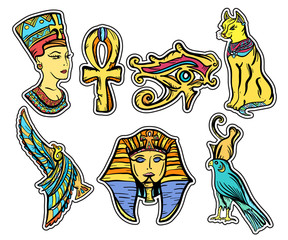 Ancient Egypt, old school tattoo. Classic flash tattoo style Egypt, patches and stickers. Pharaoh, ankh, eye Ra,  Nefertiti, cat.  Ancient Egypt hand drawn collection