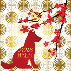 Gold red Chinese card with dog,puppy,flower.Chinese wording translation:Happy new year 2018