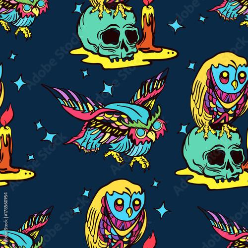 Magic Owl Seamless Pattern Old School Tattoo Vector Fashionable