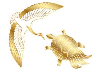 お正月素材 金色の鶴と亀