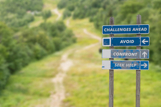 Signpost on top of the mountain warning challenges ahead and three options