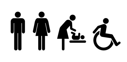 toilet icons, wc symbol signs