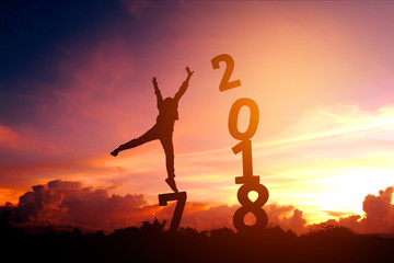 Silhouette young man Happy for 2018 new year