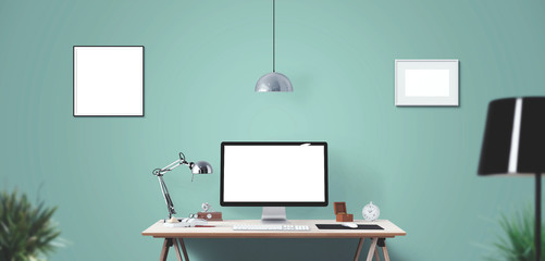 Computer display and office tools on desk. Desktop computer screen isolated. Modern creative workspace background. Front view.
