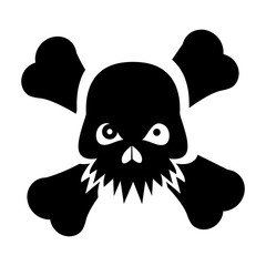 Crossbones / skull pirate sign, danger or poison flat icon for applications and websites