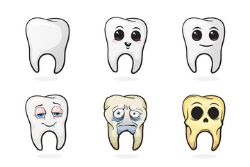 Vector illustration. Human tooths, happy tooth, sad sick tooth and skull of tooth. Symbols of oral hygiene. Set in cartoon style with contour. Isolated on white background