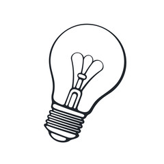 Vector illustration. Hand drawn doodle of light bulb. Energy and power sign of technology. Symbol of education, idea, inspiration and solution. Cartoon sketch. Isolated on white background