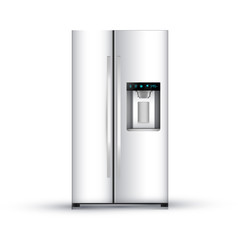 Vector illustration of  modern realistic frige on white background.