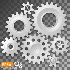 Realistic white gears on transparent background. Vector illustration