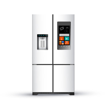 Vector illustration of  modern realistic frige on white background.