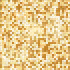 Gold glittering round mosaic seamless background.