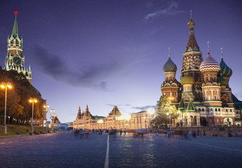 Panorama of Red Square in Moscow by night, Russia