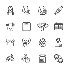 Pregnancy, women health line icons set. Vector icon