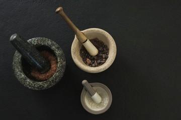 Sea salt and black salt in mortar pestle