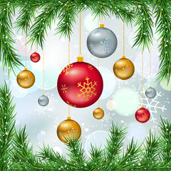 Christmas balls on winter bokeh background with fir twigs and snow. Vector illustration, template for banners, gift cards, invitations, posters or web design