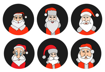 Santa Claus colorful round icons set.