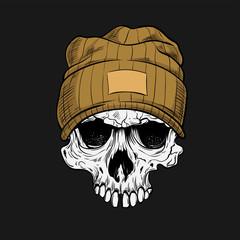 Hipster skull dressed in cap