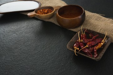 Various spices on black background