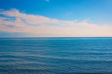 Peaceful seascape horizon and sky