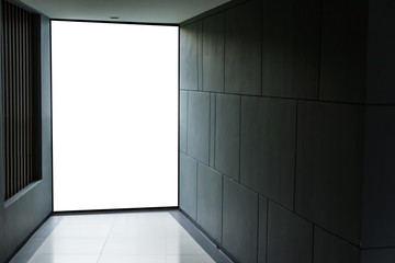 corridor with blank wall and blank signage for your text