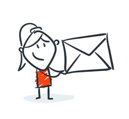 Strichfiguren - Frauchen: Brief, Post, Liebesbrief. (24)