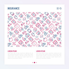 Insurance concept with thin line icons: health, life, car, house, savings. Modern vector illustration for banner, web page, print media with place for text.