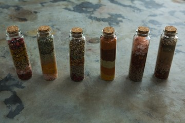 Bottles of various spices
