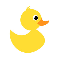 Rubber duck or ducky bath toy flat color icon for apps and websites. Simple yellow fluffy small duck. Cute rubber floating graphic for children