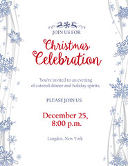 Christmas party invitation with frosty snowflakes