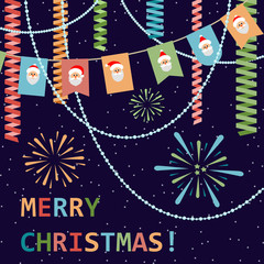 Merry Christmas! Greetings in flat style. Festive background. Vector.