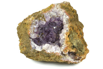 amethyst geode found in Morocco isolated on white background