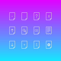 Vector Illustration Of 12 Page Icons. Editable Pack Of Dollar, Style, Plus And Other Elements.