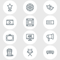 Vector Illustration Of 12 Movie Icons. Editable Pack Of Reward, Resolution, Movie Reel And Other Elements.
