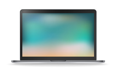 Modern laptop vector mockup with blured background. Template for a contect