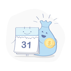 Cute cartoon Calendar with money bag. The end of the month, Salary, Annual payment day, Wage, Time to pay, Financial calendar, Monthly budget planning icon concept. Flat outline modern illustration.