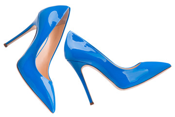 Blue lacquered high-heeled shoes