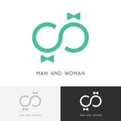 Man and woman logo - love couple and infinity symbol. Groom and bride, wedding and family vector icon.