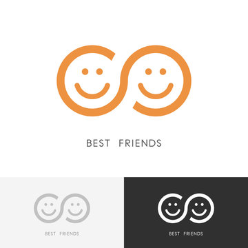 Best friends logo - two smiling faces and infinity symbol. Friendship, togetherness and partnership vector icon.