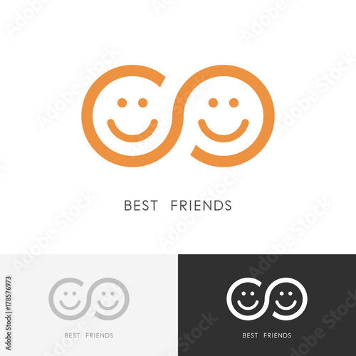 Best Friends Logo Two Smiling Faces And Infinity Symbol