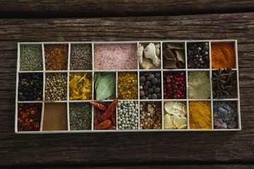 Various spices and ingredients in a tray