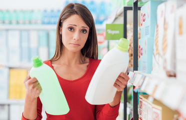 Woman comparing products