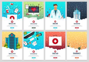 Set of Medical posters. Health care. Vector medicine illustration.