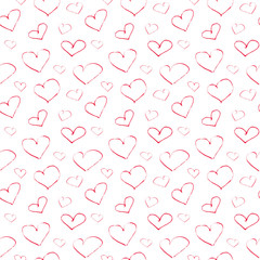 Vector endless seamless pattern of the ink red hearts hand painted on a white background