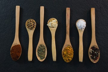 Various spices arranged in a spoon